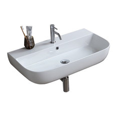 "30"" Modern Ceramic Wall Mounted or Vessel Sink, 1-Hole"
