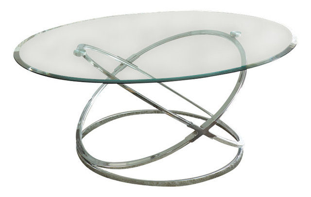 Steve Silver Orion 3-Piece Glass Top Coffee Table Set with Chrome ...