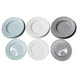 Tricolour 18-Piece Dinner Set, Grey, Blue and Ultra-White