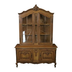 Consigned China Cabinet Louis XV Vintage French Rococo 1950 Oak Wood Glass