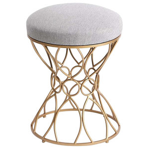 Traditional Dressing Table Stool, Steel Metal Frame and Fabric Padded Seat, Grey