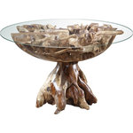 EuroLux Home - Teak Root Glass Dining Table - Product Details: