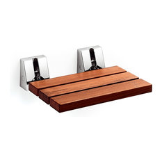 LB Bath Collection   LB Scagni Folding Shower Seat With Steel Bracket Wood  Fold Down Spa