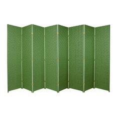 8-Panel Room Divider in Light Green Finish