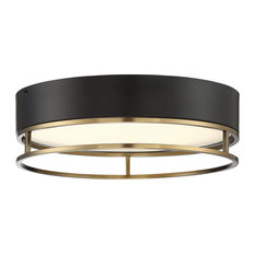 Creswell 1 Light Oval LED Flush Mount in Warm Brass with Frosted Acrylic Glass