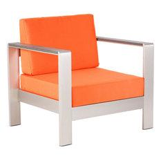 Zuo Modern Contemporary   Cosmopolitan Arm Chair Cushion Orange   Outdoor  Lounge Chairs