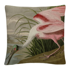 """John James Audubon 'Roseate Spoonbill' 16""""x16"""" Decorative Throw Pillow"""