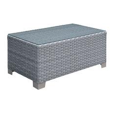 Balmer Contemporary Style Outdoor Patio Outdoor Patio Coffee Table In Gray