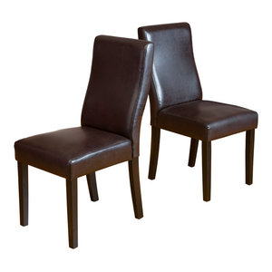 GDF Studio Heath Brown Leather Dining Chairs, Set of 2