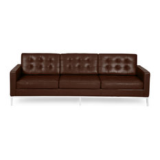 kardiel midcentury modern florence premium aniline leather 3seat sofa choco brown