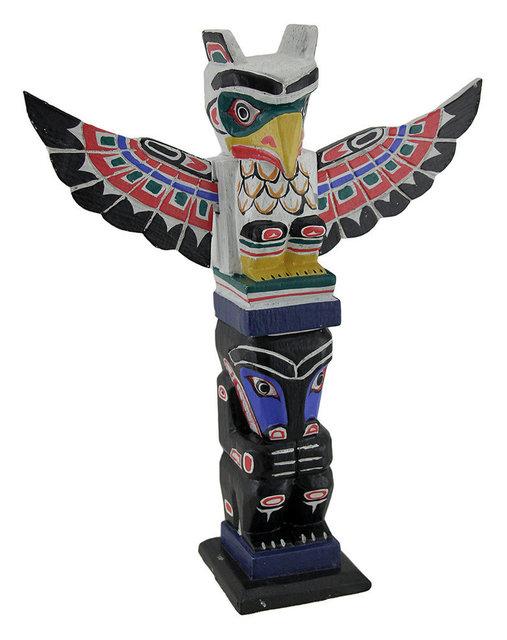 Northwest Coast Inspired Colorful Wooden Eagle Totem Pole Statue 12