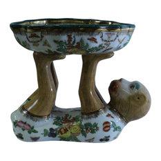 Handmade Oriental White Color Flower Monkey Holding Bowl Figure