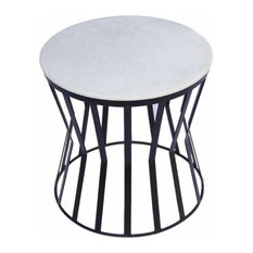 The Urban Port Drum Shaped Round Marble Top Side/ End Table White