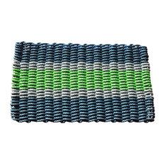 """Navy, Gray, and Green 5 Stripe Doormat, 21""""x33"""""""