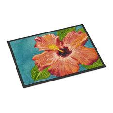 "Coral Hibiscus by Malenda Trick Indoor/Outdoor Mat 24""x36"" TMTR0316JMAT"