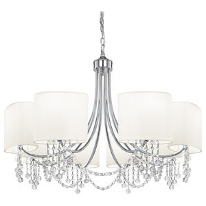 Nina 8-Light Modern Chain Pendant With White Oval Shade