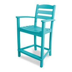 POLYWOOD La Casa Cafe Counter Arm Chair, Aruba