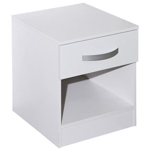 Lucie Simple Modern Bedside Cabinet With 1 Drawer, White