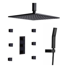 "Matte Black Shower System Ceiling Mount 12"" Rain Shower Head & 6 Body Sprays, Th"