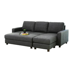 2-Piece Stanford Velvet Reversible Sectional and Ottoman Set, Charcoal