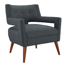 Sheer Upholstered Fabric Armchair, Gray