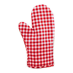 1-Pair Anti, Scald Cotton Lattice Gloves, Kitchen Bakery Cooking Oven Mitts, Red