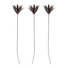 Sterling Bronze Leaf Blossom Stem Sculpture, Set of 3