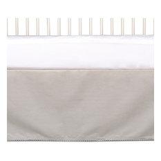 Cotton Crib Bed Skirt With Pompom Trim, Grey