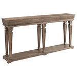 Powell - Benjamin Console - Complement your home with a Benjamin Console Table for an eclectic, weathered look. Features a distressed pine finish and classical architectural details. Tapered, turned legs sit atop a shelf base. Some assembly required.