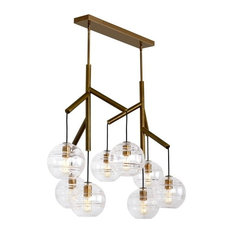 Sedona Double Chandelier, Aged Brass With Transparent Smoke