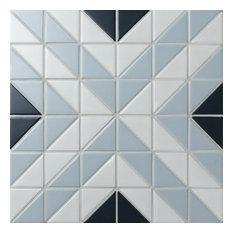 """10.75""""x10.75"""" Tri Apex Porcelain Mosaic Tile, Blue Ice Mix"""