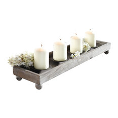 home garden collections wood tray with four metal