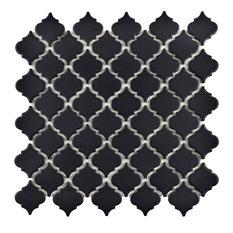 "12.38""x12.5"" Antaeus Mosaic Floor/Wall Tiles, Set of 10, Matte Black"