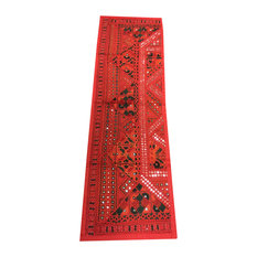 Mogul Interior - Consigned Antique Fabric, Red Sari Mirror-Work Sequin Embroidered Tapestry - Table Runners