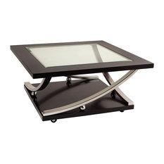 Standard Furniture   Standard Furniture Melrose Square Glass Top Cocktail  Table In Rich Dark Merlot