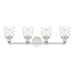 Union 4-Light Sconce Bath Fixture With Clear Seedy Glass, Polished Nickel
