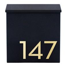 "The Inbox Wall Mounted Mailbox , 12""W x 13""H x 3.5"" D, Black"
