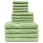 Superior - Superior 12-Piece 100-Percent Egyptian Cotton Towel Set, Sea Foam - Features: