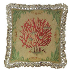 """New Aubusson Throw Pillow 20""""x20"""" Fish Coral"""