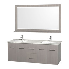 "Wyndham Collection 60"" Centra Gray Oak Double Vanity With Square Porcelain Sink"