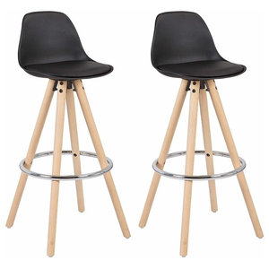 Set of 2 Bar Stools, Synthetic Leather, Wooden Legs and Steel Footrest, Black
