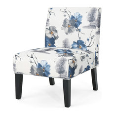GDF Studio Kendal Traditional Fabric Accent Chair, Print/Matte Black