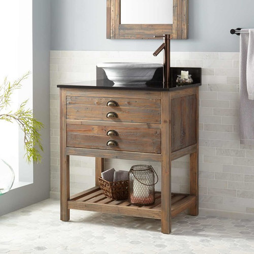 30  BENOIST RECLAIMED WOOD CONSOLE VESSEL SINK VANITY - GRAY WASH PINE - Bathroom Vanities & Vessel Sink Vanities