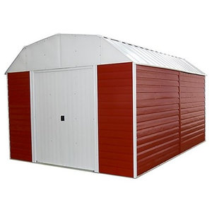 Red Barn 10'x14' Storage Shed, Red, Eggshell and Gambrel Gable