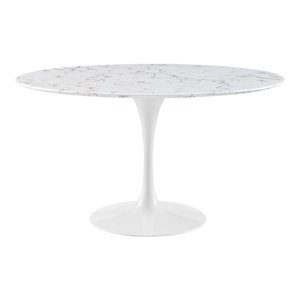 Modway EEI-1132-WHI Lippa 54 Inch Artificial Marble Dining Table, White
