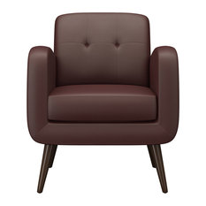 Kenneth Mid Century Modern Arm Chair, Burgundy Red