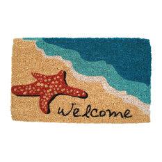 """Starfish """"Welcome"""" Handwoven Coconut Fiber Doormat"""