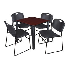 Kee 30-inch Square Breakroom Table Mahogany/ Black And 4 Zeng Stack Chairs Black