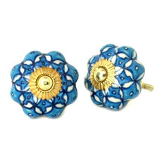 Blue and White Floral Ceramic Cabinet Knob, Set of 4