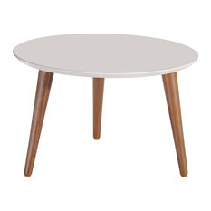 """Manhattan Comfort Moore 23.62"""" Round Mid-High Coffee Table In Off White 252252"""